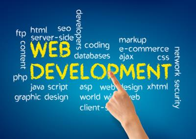 Hand pointing at a Web Development illustration on blue background.